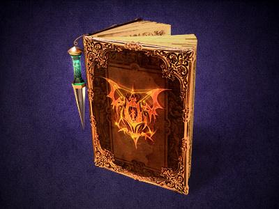 Dominion illustration dragon book curse game magic icon web concept pendant