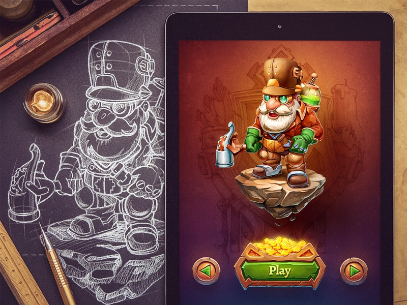 Dwunn / Character design leather liquid glass select rpg button stone texture ipad ios game