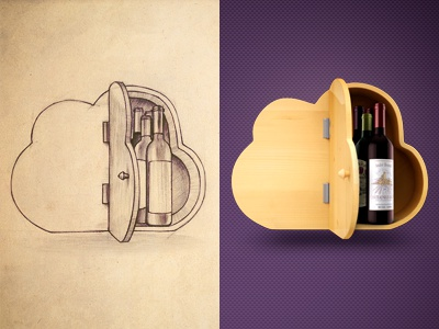 Wine cellar illustration wine cloud hosting icon web remote collection online
