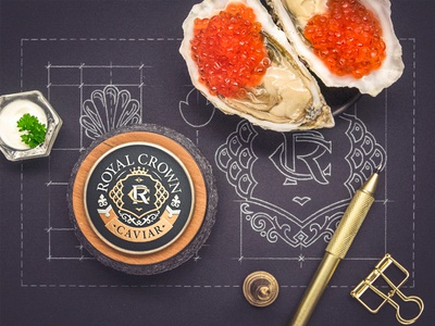 Royal Crown sketch pencil caviar crown paper badge lettering logo monogram