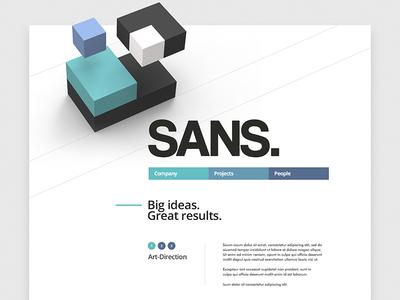 SANS / Web site block 3d site navigation typography uix ui design web