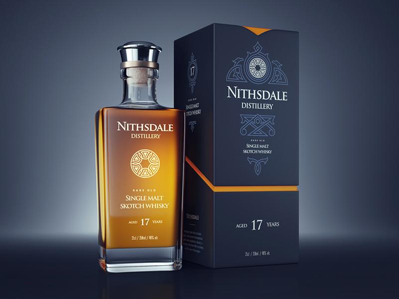 Nithsdale Distillery design packaging paper sketch whisky bottle badge lettering logo