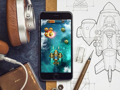 iOS Game / Arcade cinema glow sketch metal navigation bar cloud plane sky ipad ios game