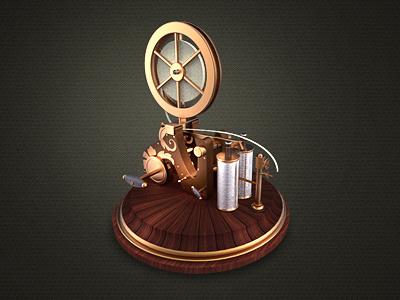 Telegraph receiver telegraph phone gadget vintage steampunk metal design icon web antique rusty old