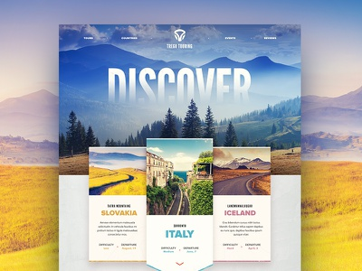 Trego Touring (guided bicycle tours) tourism travel nature bicycle site navigation typography uix ui design web