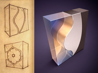 Box box soft design packaging light concept sketch metal glass prototype plastic reflection shine pencil paper