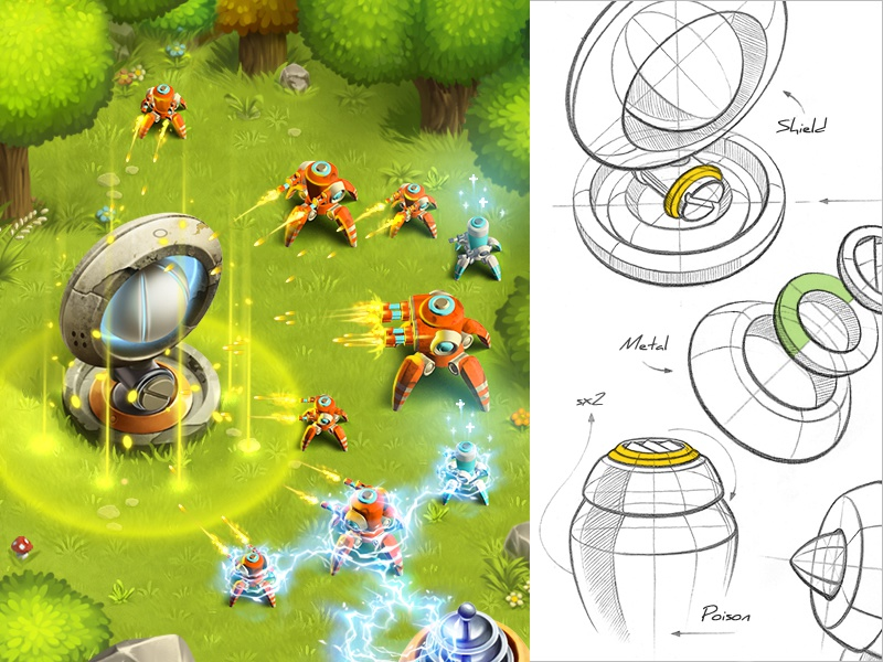 Tower defence: Outpost tree button interface defence tower metal grass sketch ipad game ios