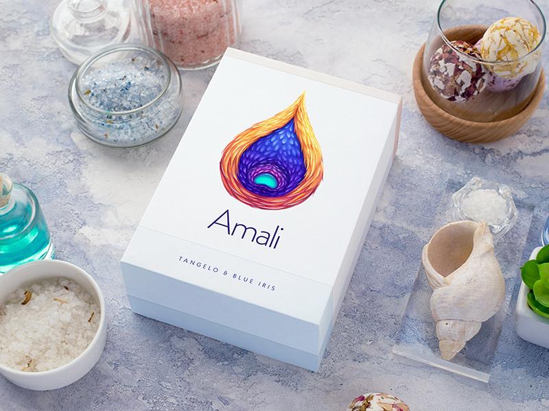 Amali / Gift set packaging water cosmetics bath salt soap set gift foil paper typography logotype