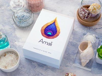 Amali / Gift set packaging water cosmetics bath salt soap set gift foil paper typography logotype