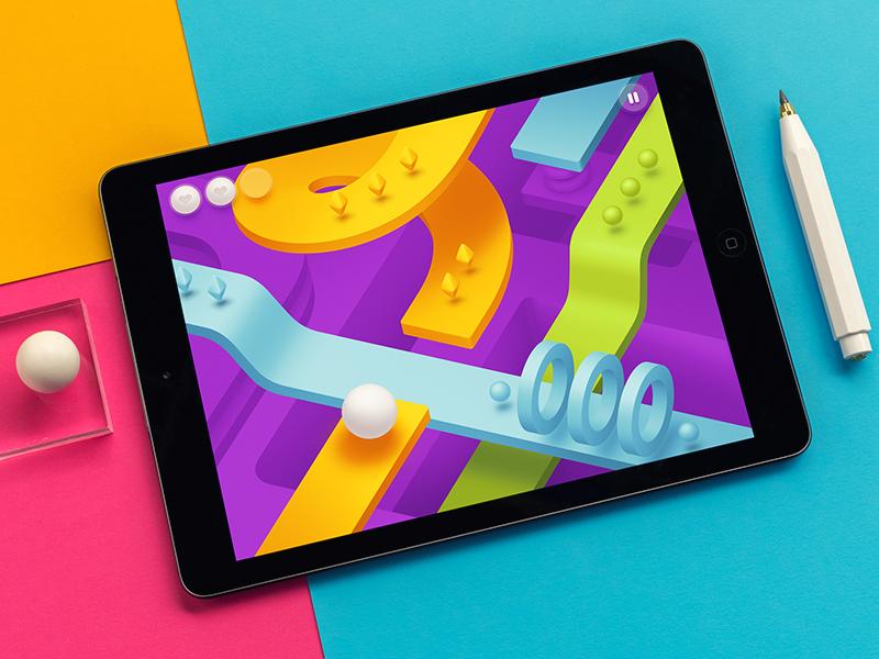 3D Arcade / iOS cinema geometry runner 3d memphis flat arcade interface ipad game ios
