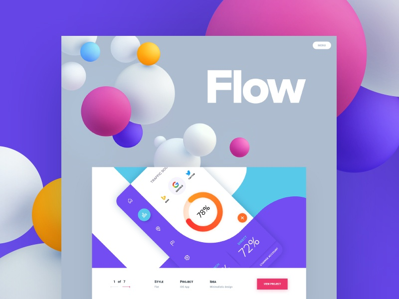 Flow / Design studio blog menu navigation ui flat work portfolio studio design site web