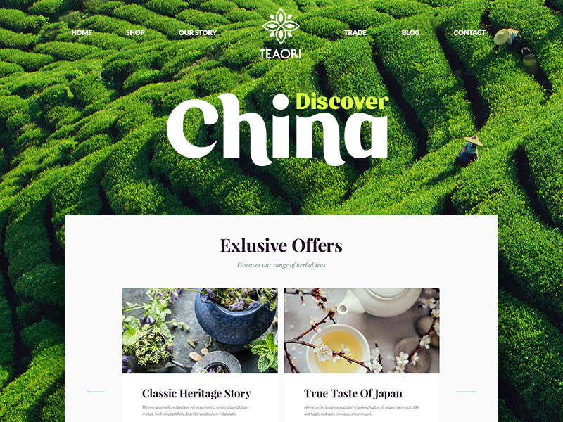 Teaori / Web site design background nature tea product menu navigation ui flat work design site web