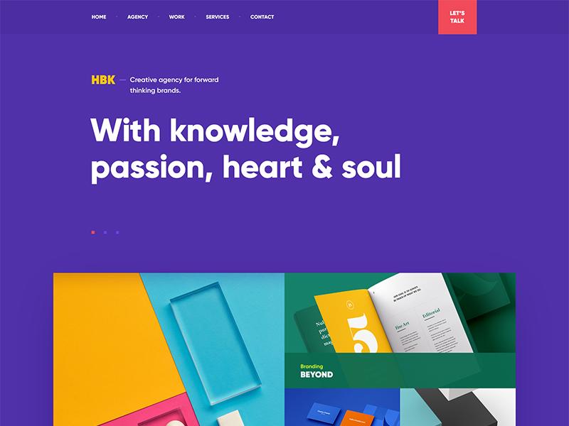 HBK / Creative Agency typography grid print menu navigation ui flat portfolio design site web