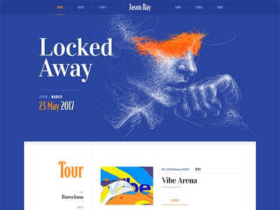 Jason Ray / Website typography grid menu navigation ui flat music design clean site web