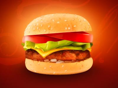 Burger icon web illustration burger food concept restaurant meat tomato bread cheese fresh