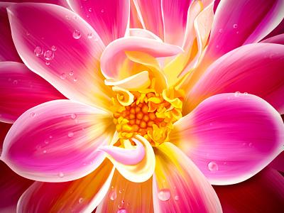Flower flower water drop illustration icon sketch handmade leaf color