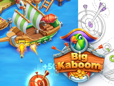 Big Kaboom / iOS Game character pirate casual wood glass ship water interface arcade game ios