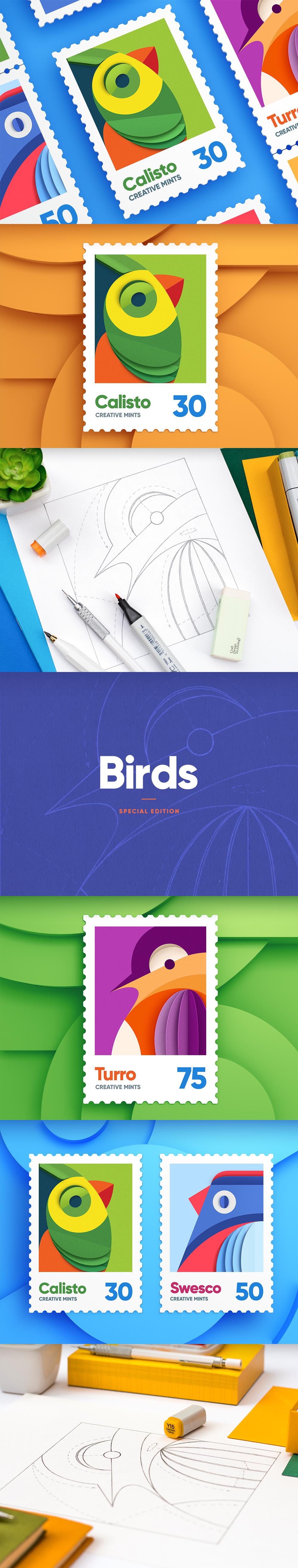 Birds post stamps