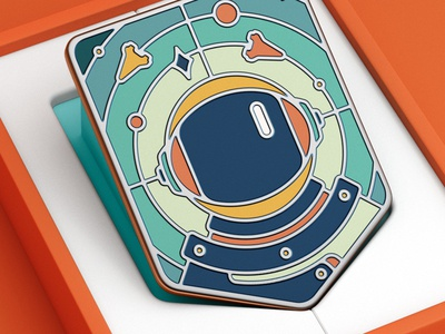 Space / Collector's edition vector sticker stamp lapel pin badge space sketch paper