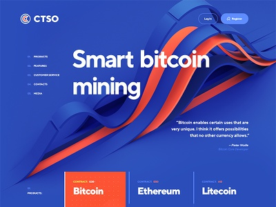 Bitcoin / Altcoin mining ico blockchain ethereum mining bitcoin typography site flat ux ui design web