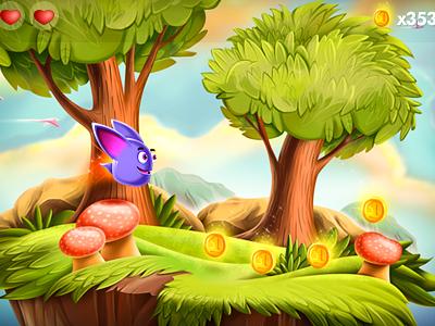 Arcade ios coin game ui iphone arcade platform side character life heart tree forest cartoon mushroom grass