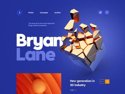 Bryan Lane / Personal portfolio 3d typography flat grid works portfolio design web