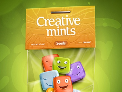 Creative Mints seed caramel fresh mint creative color splash typography package illustration web smile face
