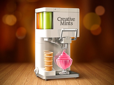 Dribbble Invite dribbble invite illustration sketch process color mix ice cream machine chrome wood bokeh glass creative