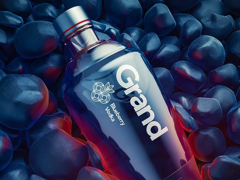 GRAND: Blueberry Vodka sketch branding 3d glyph flat glass packaging logo design