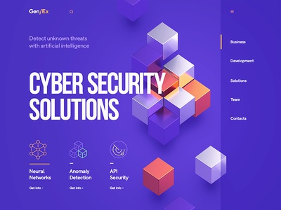 Gen/Ex Cyber Security solutions blockchain security flat icon font typography design site web