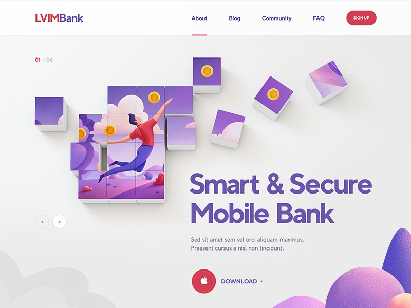 LVIM Bank / Crypto illustration character blockchain flat icon font typography design site web