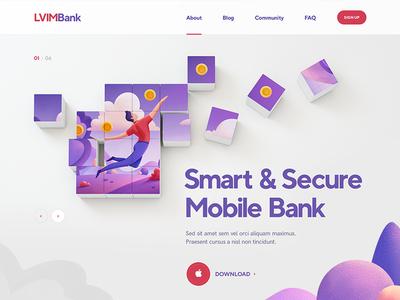 LVIM Bank / Crypto illustration character blockchain flat icon font typography design site web