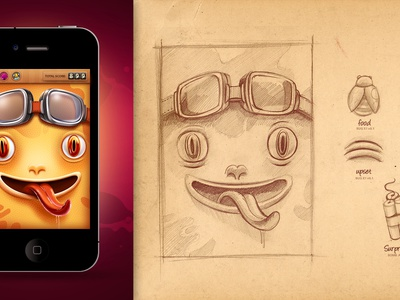 Lick&Click! game ui iphone score smile arcade character frog slice sketch paper old vintage retro