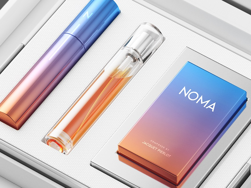 NOMA / Packaging design pattern texture transparent gradient glass typography minimal logotype flat 3d design packaging