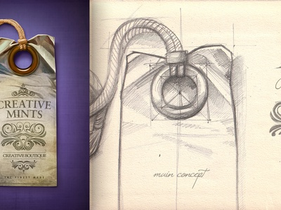 Portfolio design sketch tag light paper portfolio shine rope teaser label
