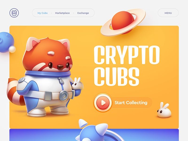 Crypto Cubs / Trading platform icon navigation bitcon ethereum character typography game illustration web design crypto