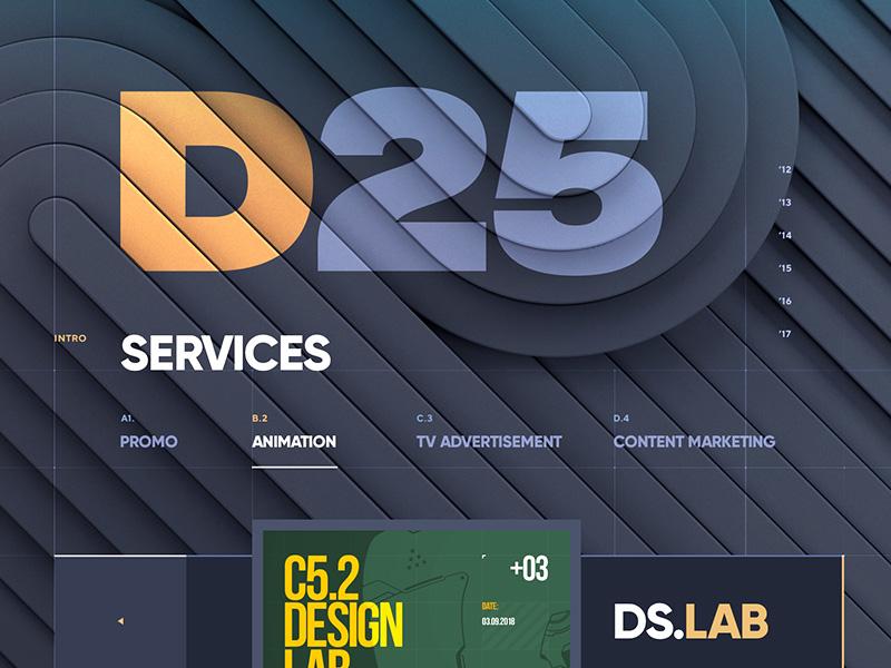D25 / Video Production portfolio 3d website video vector ux button navigation metal logo typography illustration web design