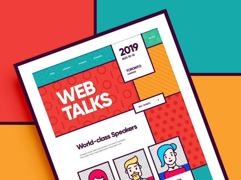 Web Talks / Design conference pattern chracter people flat icon branding vector ux ui typography memphis color illustration web design