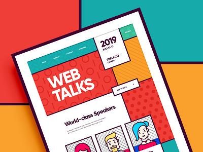 Web Talks / Design conference pattern chracter people flat icon branding vector ux ui typography memphis color illustration web design