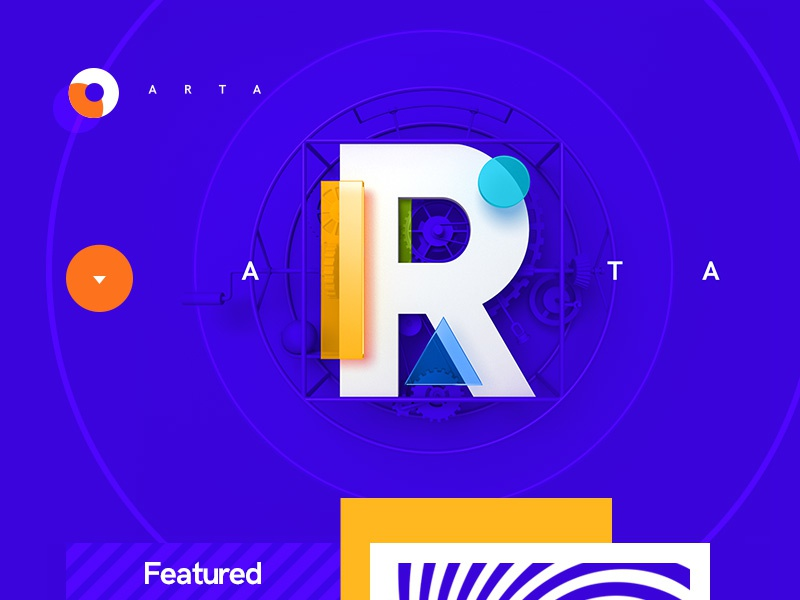 ARTA / Art Gallery art grid abstract typography 3d flat ux ui design site web