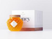 Minimal honey packaging white logo design glass