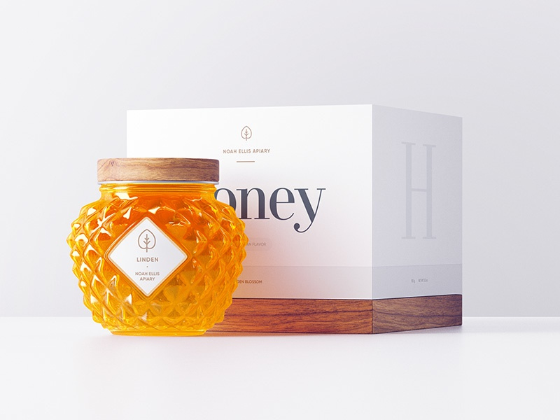 Noah Ellis Apiary / Packaging box texture minimal gradient 3d flat design soft paper wood glyph icon typography glass honey packaging