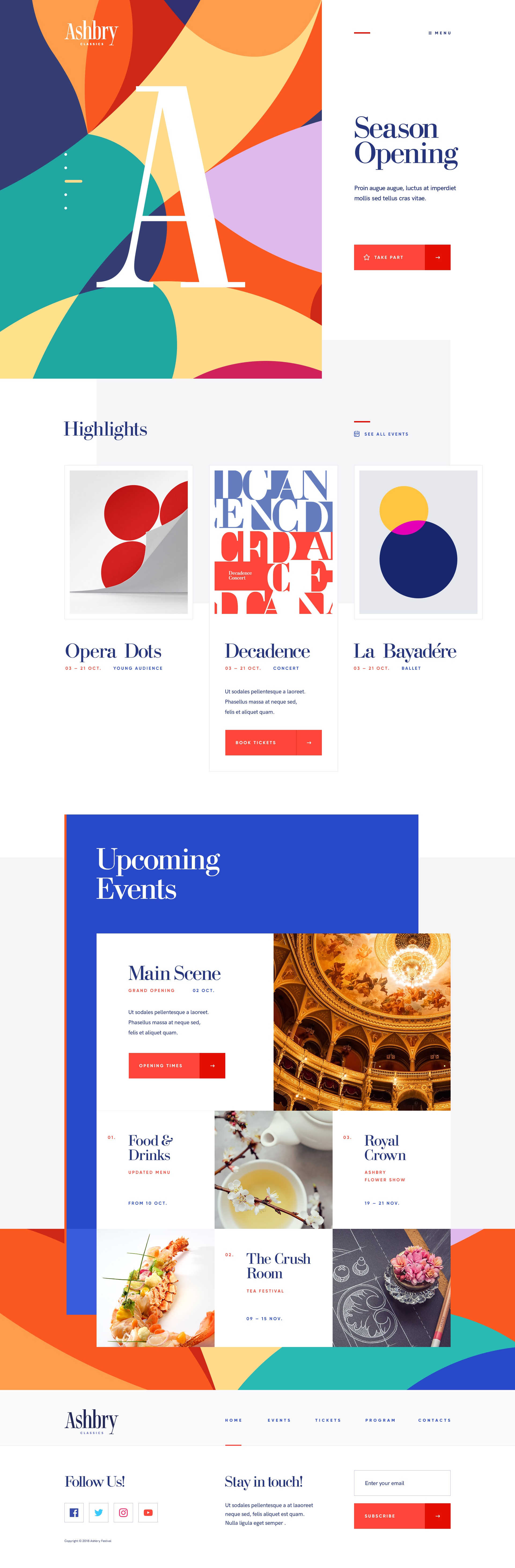 Music web site design ui ux opera ballet