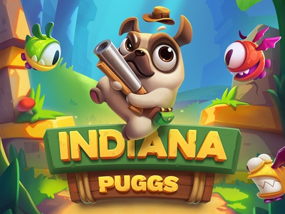 iOS Game  / Indiana Puggs wood stone metal logotype iphone ios illustration icon game flat design character arcade