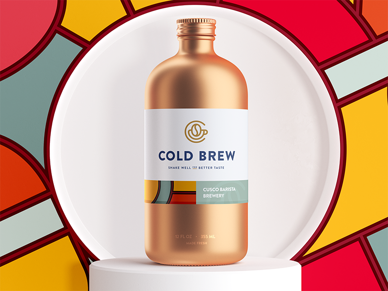 Cold brew coffee packaging hipster copper metal