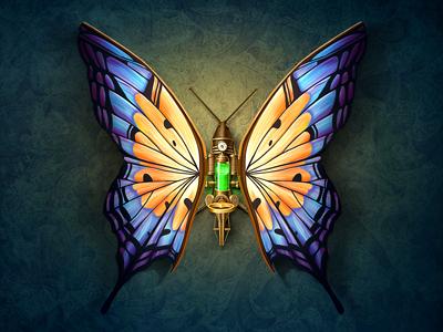 Mechanical Butterfly steampunk butterfly icon web wing liquid glass metal wood key light