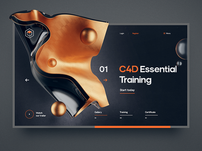 C4D Essential Training wireframe site 3d flat grid navigation cinema 4d glass metal ux ui illustration typography web design