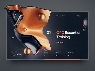 C4D Essential Training wireframe site 3d flat grid navigation cinema 4d glass metal ux ui illustration typography web design