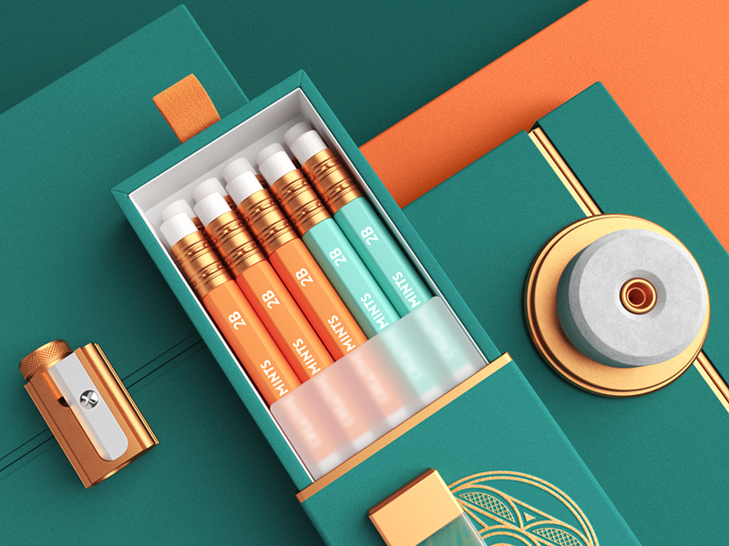 Creative Mints / Premium wood case pencil packaging vector branding illustration logo metal wood typography paper design