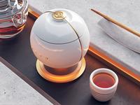 Tea packaging wood glass logotype branding gold stone